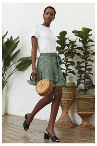 Womens Oasis Green Textured Animal Frill Skirt -  Green