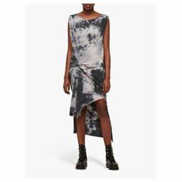 AllSaints Dyetie Riviera Dress, Ink Blue/Pale Grey