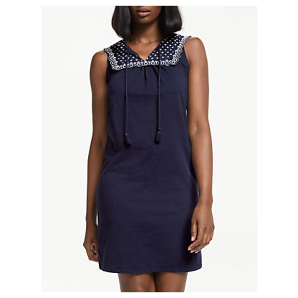 Boden Nella Embroidered Jersey Dress, Navy