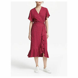 Great Plains Dana Dot Dress, Earth Red/White