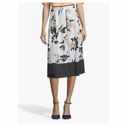 Betty & Co. Floral Midi Skirt, White/Multi
