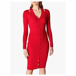 Karen Millen Ribbed Bodycon Dress, Red