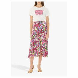 Gerard Darel Iness Floral Print Skirt, Pink/Multi