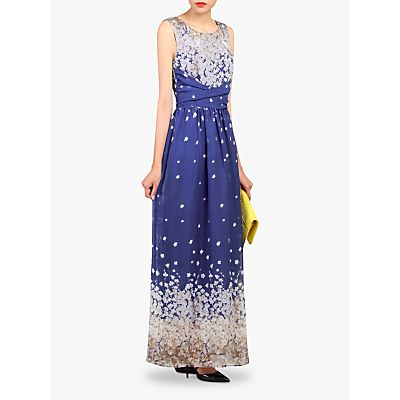 Jolie Moi Floral Belted Maxi Dress, Blue/Multi