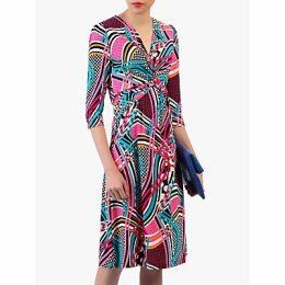 Jolie Moi Twist Front Sleeved Dress, Pink/Multi