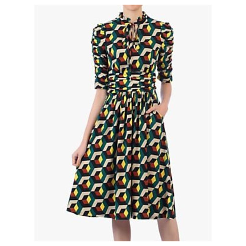 Jolie Moi Geometric Print Tie Neckline Midi Dress, Teal/Multi