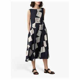 Toast Diamond Print Dress, Off Black/Ecru