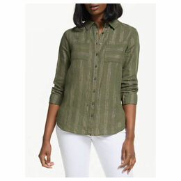 Boden Collared Linen Shirt, Khaki/Gold
