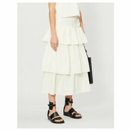 High-rise tiered linen skirt