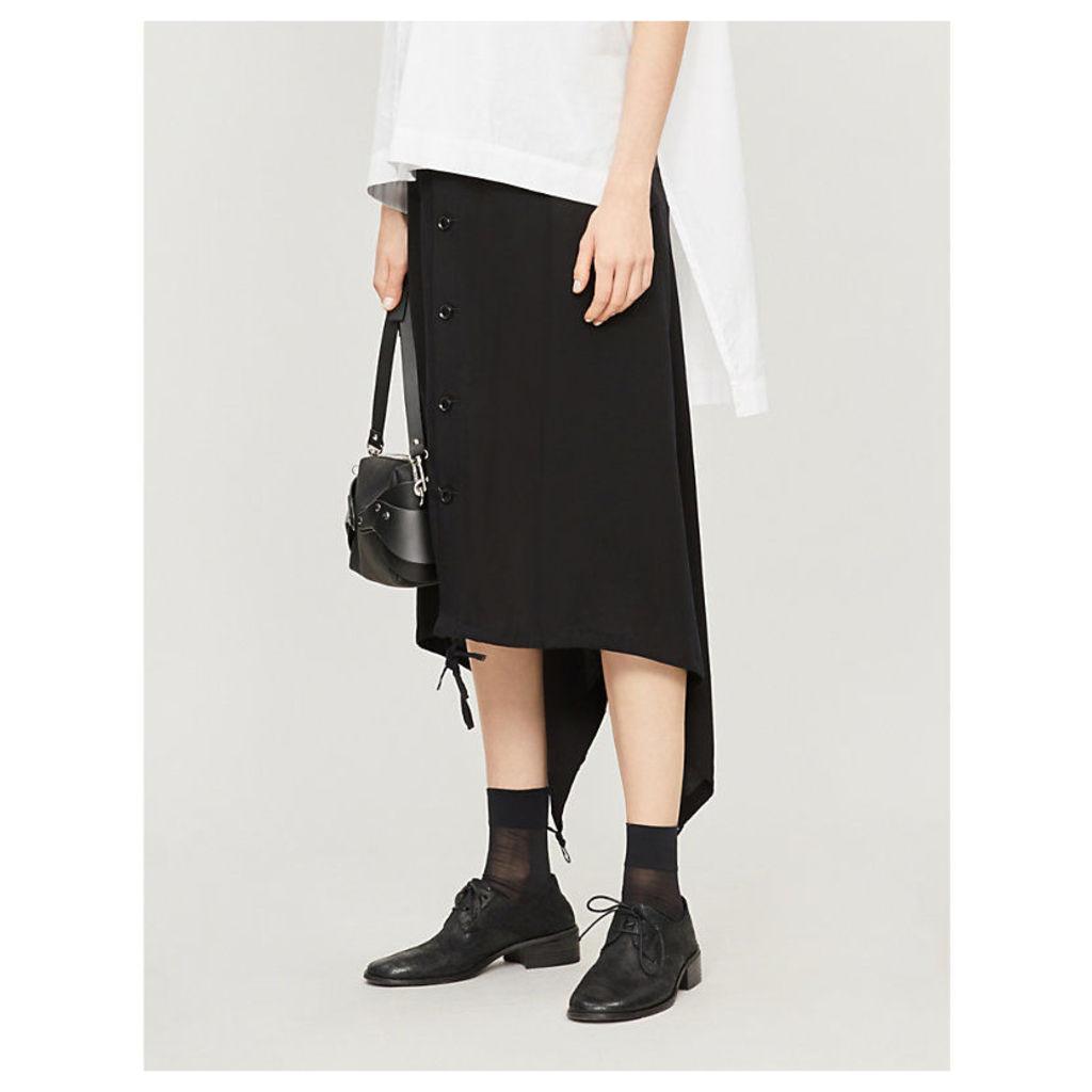 Button-up tencel cargo midi skirt