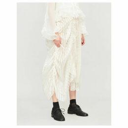 Contrast-panel silk midi skirt