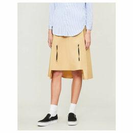 Drawstring high-waist stretch-cotton skirt