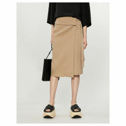 Finch fitted high-rise linen-blend skirt