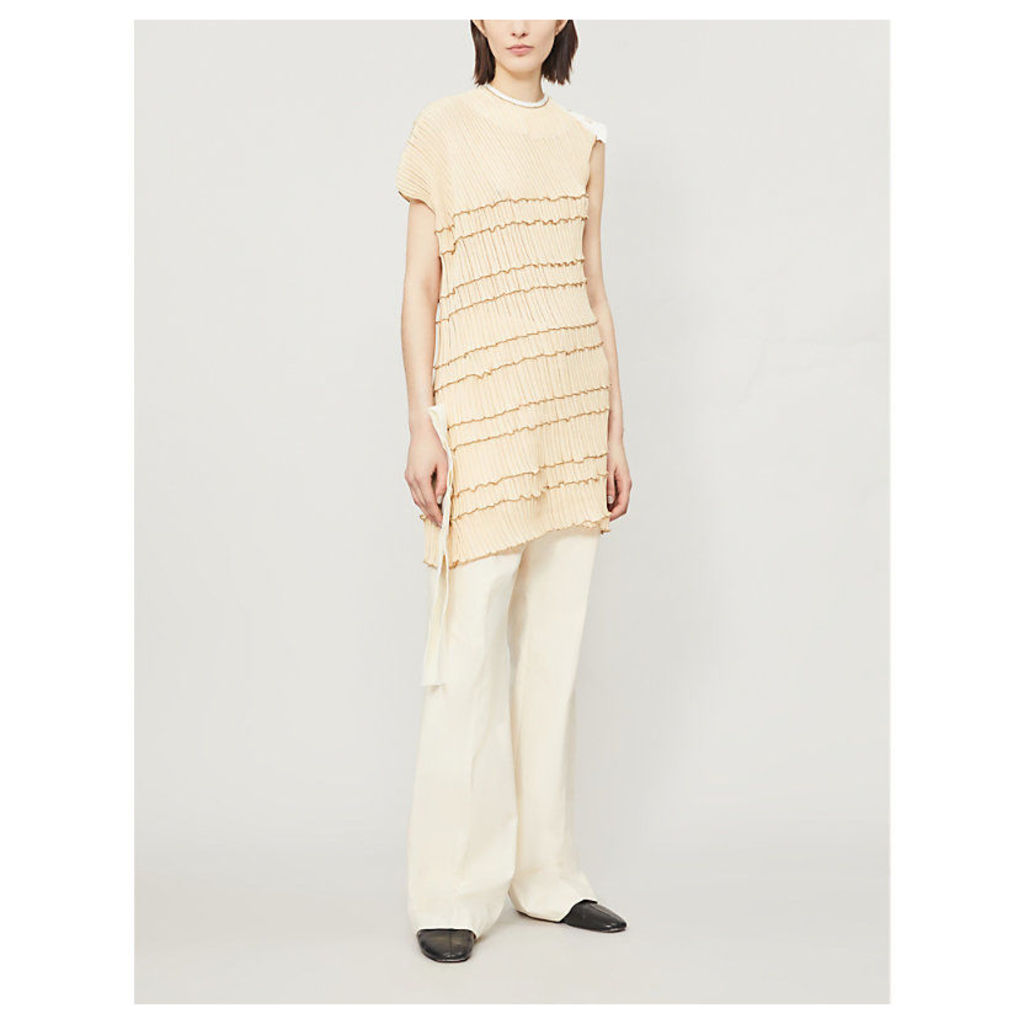 Asymmetric pleated cotton top