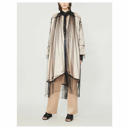 Loose-fit tulle and satin coat