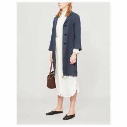 Operoso hopsack linen-blend coat