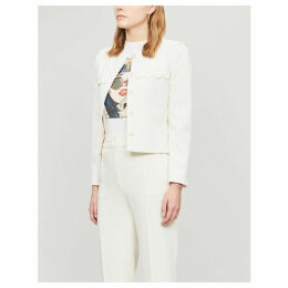 Scalloped-trim woven blazer