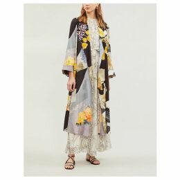 Patchwork floral-print cotton-blend knit jacket