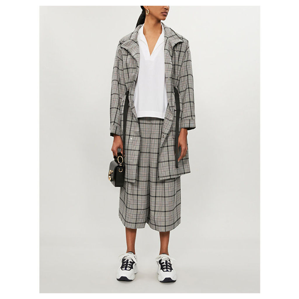 Checked funnel-neck woven coat
