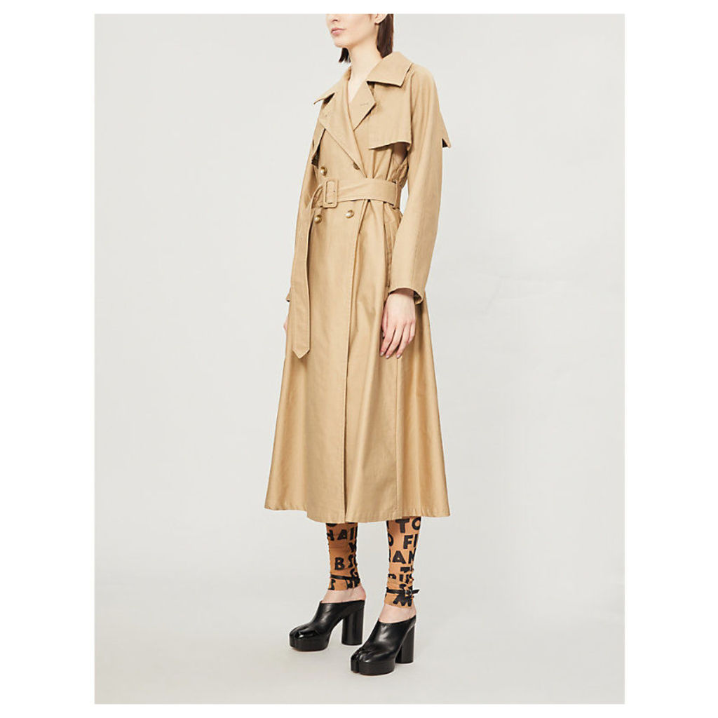 Cut out double-breasted cotton coat