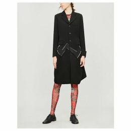 Zig-zag cutout wool coat