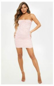 Rose Bandeau Lace Embroidered Trim Bodycon Dress, Pink