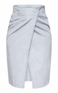 Grey Wrap Over Shell Midi Skirt, Grey