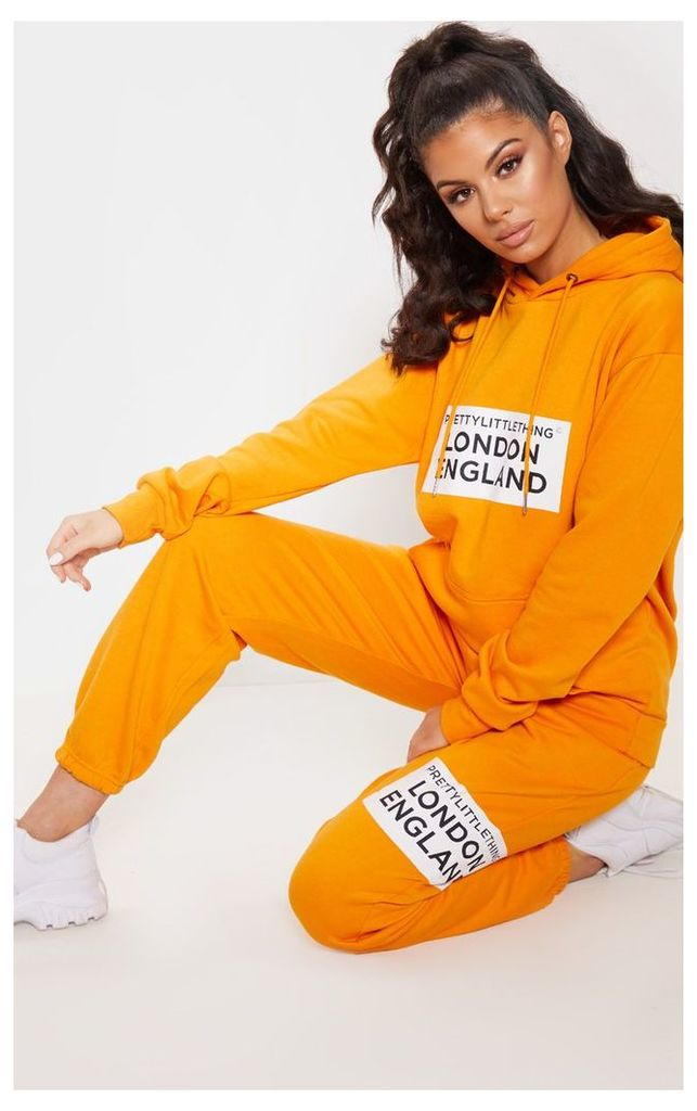 PRETTYLITTLETHING Orange Contrast Print Oversized Hoodie, Orange