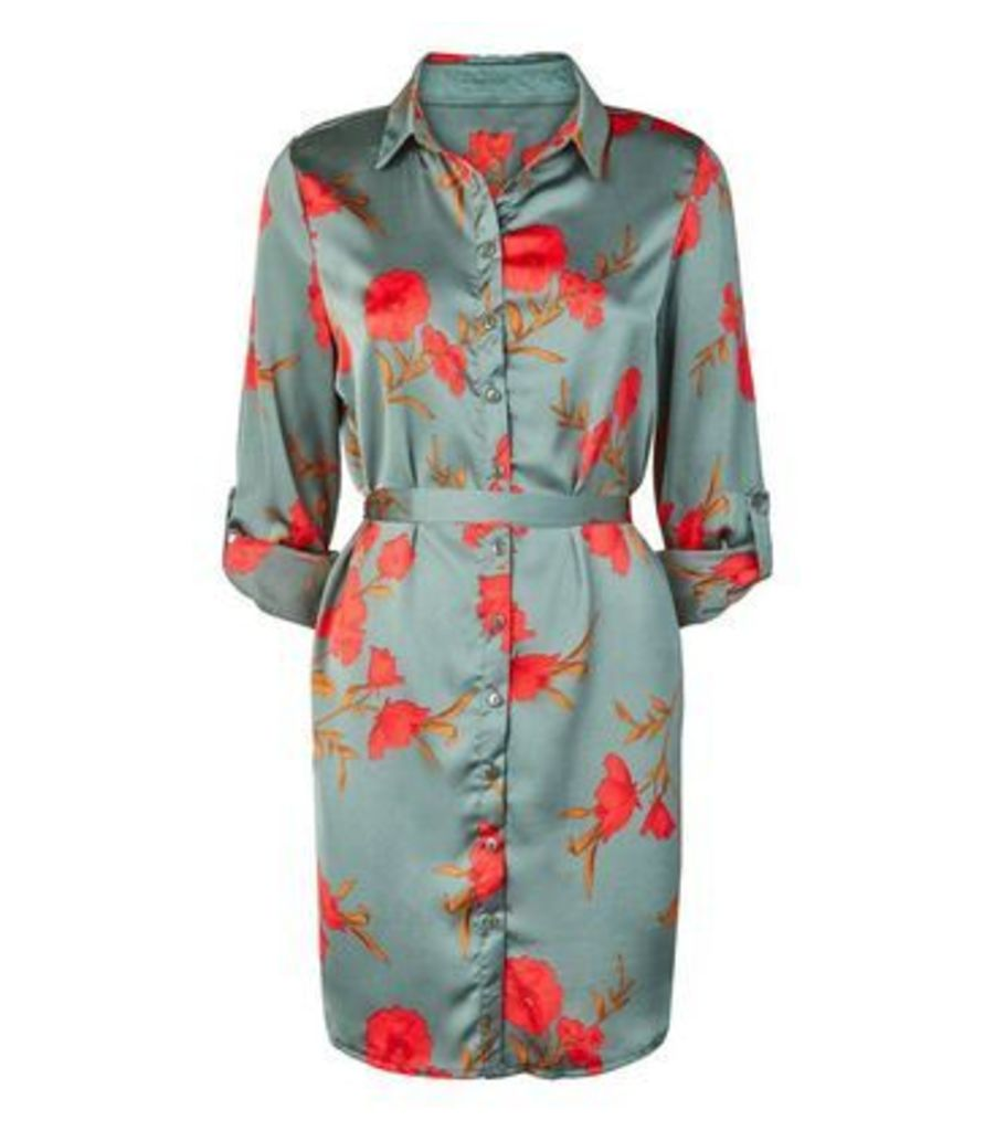 Parisian Green Floral Satin Belted Shirt Dress New Look