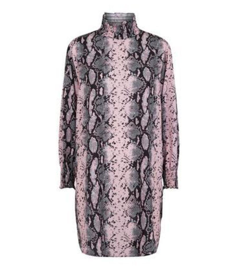 Cameo Rose Pink Snake Print Turtleneck Dress New Look