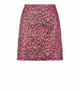 Blue Vanilla Bright Pink Leopard Print Skirt New Look