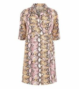 Blue Vanilla Curves Pink Faux Snake Wrap Dress New Look