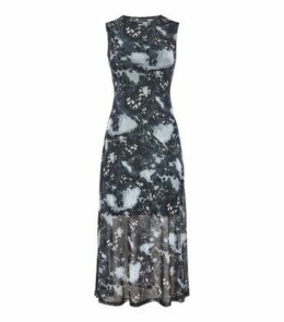 Innocence Grey Tie Dye Mesh Midi Dress New Look