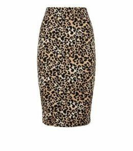 Brown Leopard Print Pencil Skirt New Look