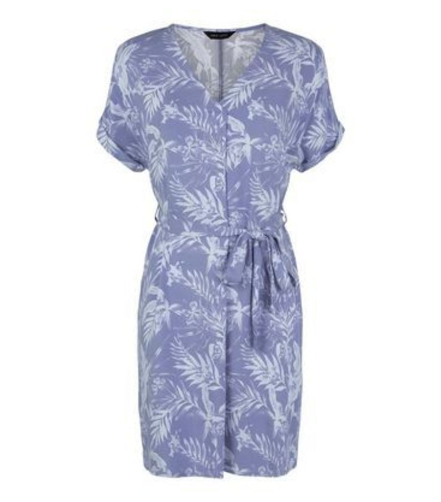 Blue Leaf Print Tie Waist Tunic Dress New Look