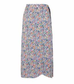 Purple Floral Midi Skirt New Look