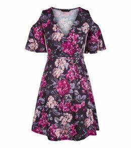 Black Floral Cold Shoulder Mini Dress New Look