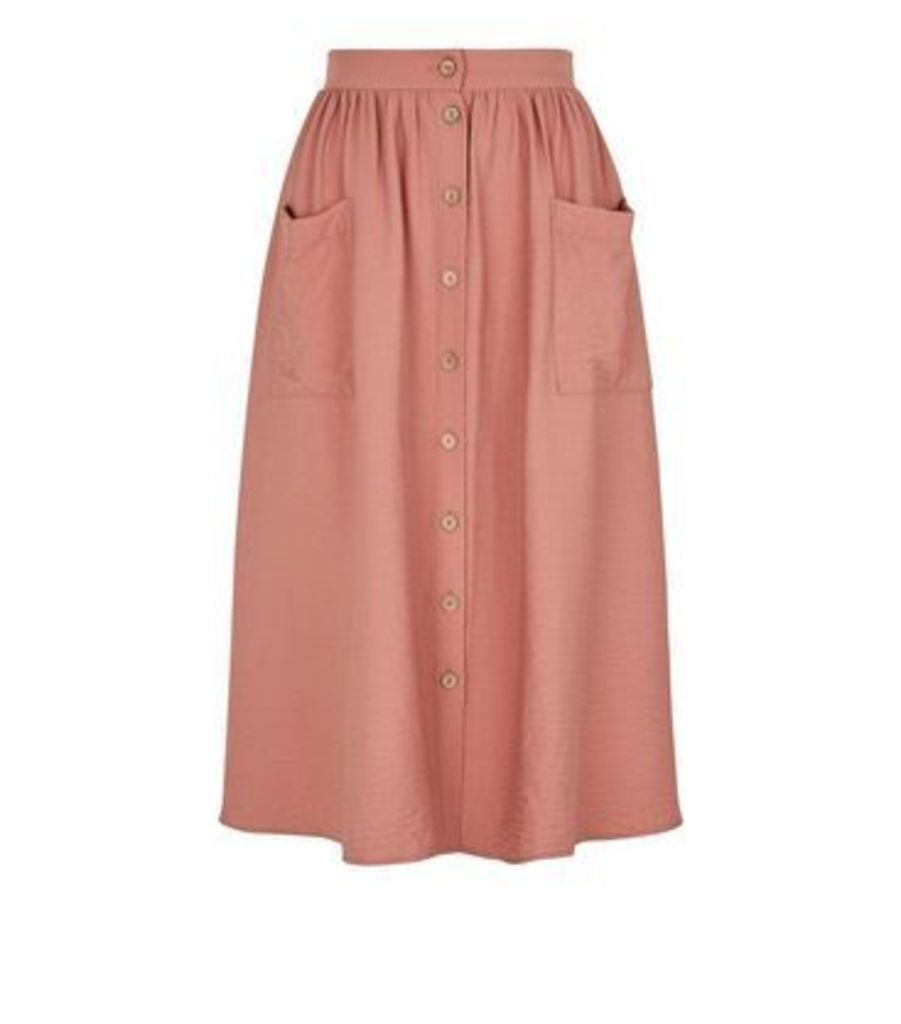 Pale Pink Button Pocket Front Midi Skirt New Look