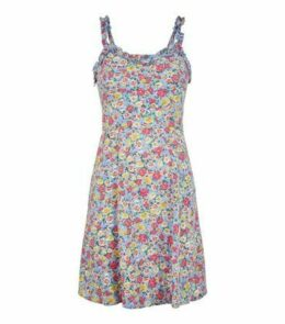 Blue Ditsy Floral Frill Sundress New Look