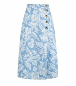 Blue Tropical Floral Linen Blend Midi Skirt New Look