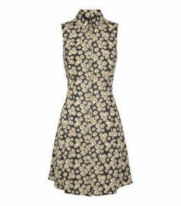 Black Daisy Print Sleeveless Shirt Dress New Look
