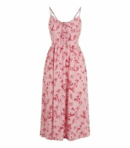 Pink Palm Print Lace Up Front Midi Dress New Look