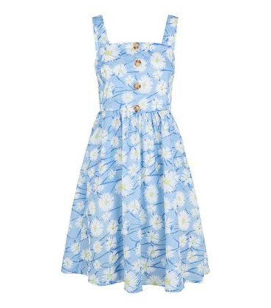 Blue Vanilla Pale Blue Floral Button Sundress New Look