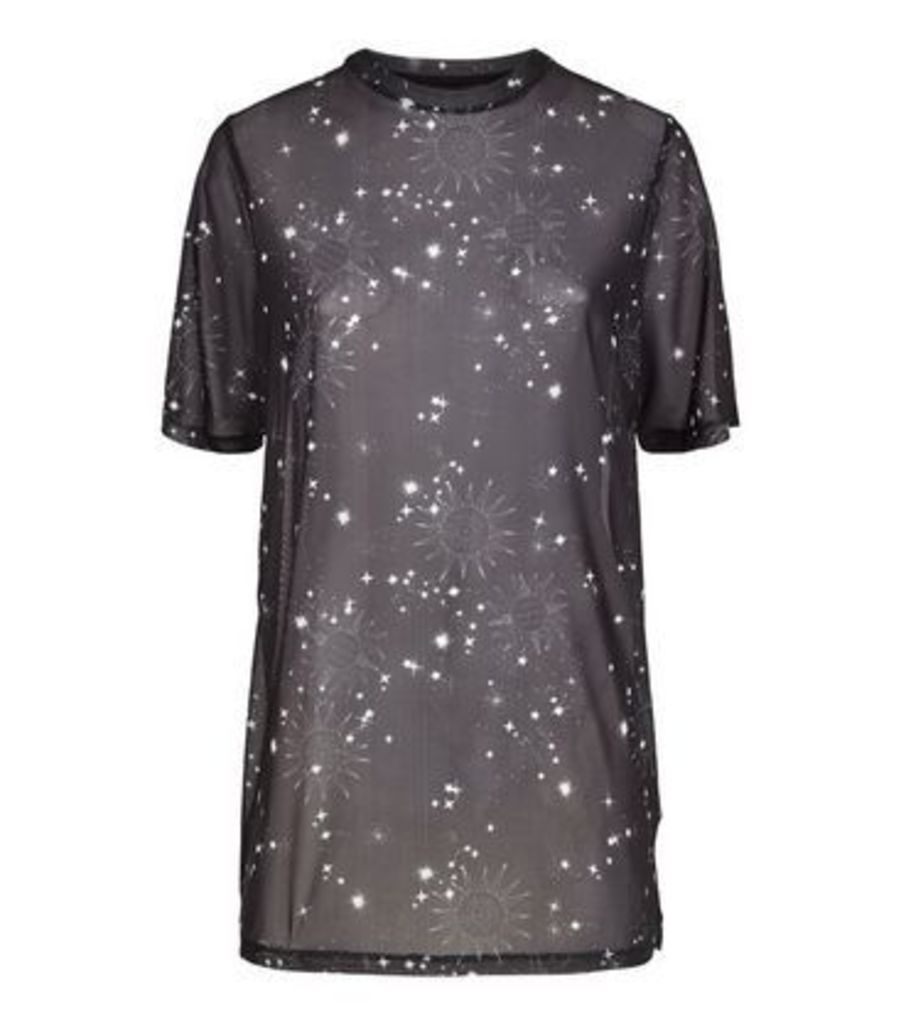 Black Cosmic Print Mesh T-Shirt New Look