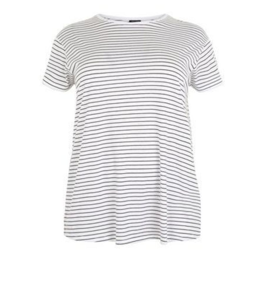 Curves White Stripe Oversized T-Shirt New Look