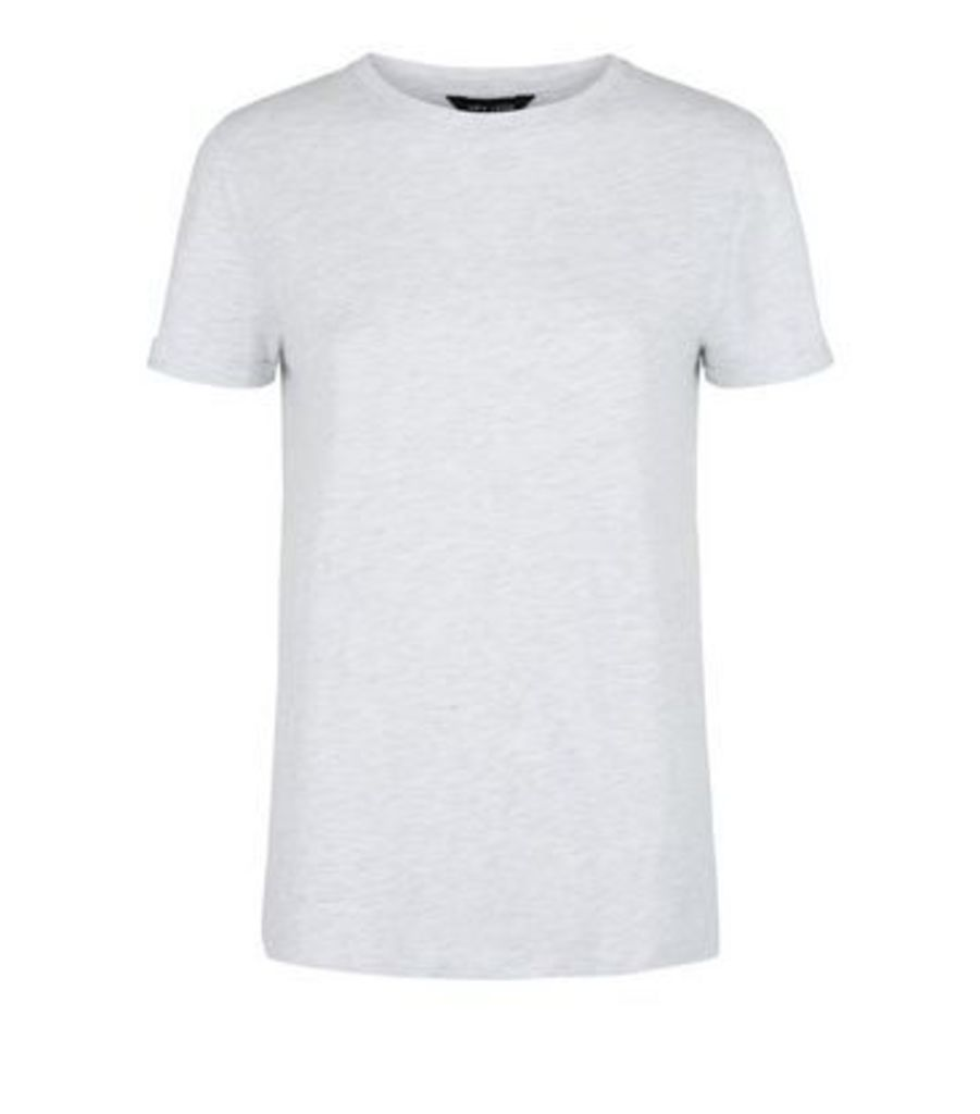 Pale Grey Organic Cotton Blend Roll Sleeve T-Shirt New Look