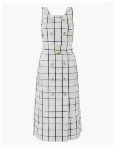 M&S Collection Pure Linen Checked Waisted Dress