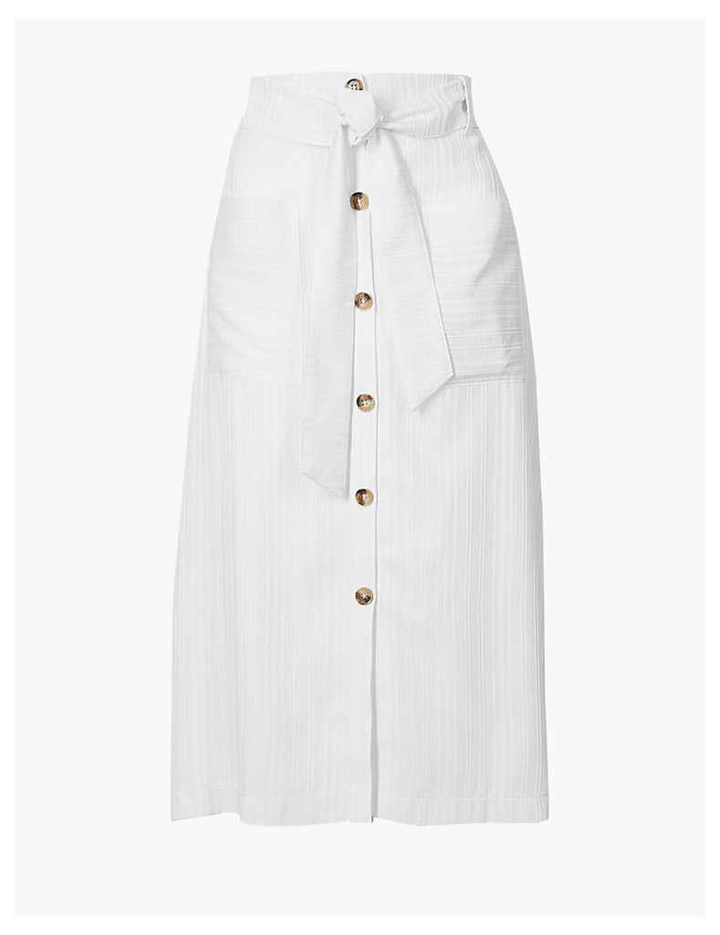 Per Una Button Detailed A-Line Midi Skirt