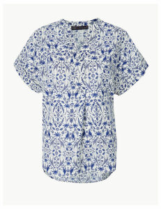 M&S Collection Linen Rich Printed Blouse