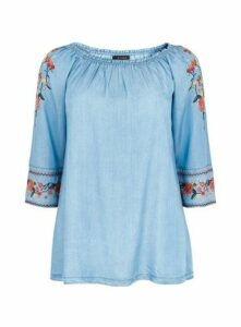 Chambray Embroidered Bardot, Blue